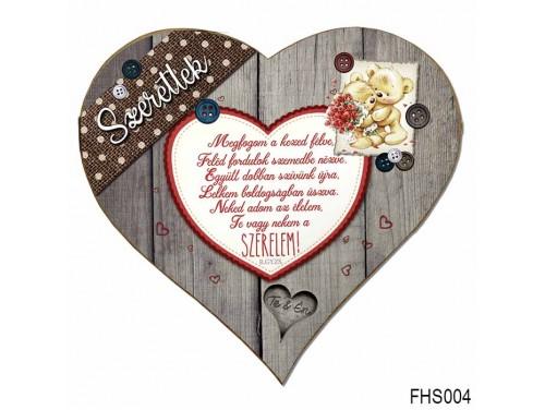 (FHS004) Szív Hűtőmágnes 12x12 cm - Megfogom a kezed