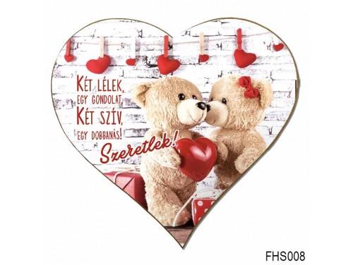 (FHS008) Szív Hűtőmágnes 12x12 cm - Két lélek, egy gondolat