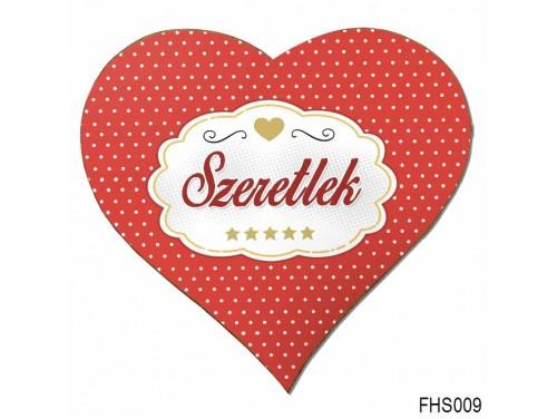 (FHS009) Szív Hűtőmágnes 12x12 cm - Pöttyös Szeretlek