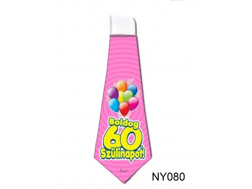 (NY080) Nyakkendő 37x13 cm - Boldog 60. Szülinapot – Szülinapi ajándék ötletek