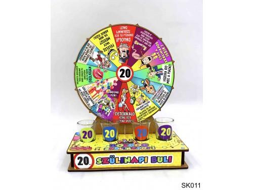 (SK011) Szerencsekerék Ivós Társasjáték – 20. Szülinapi Buli – Alkoholos Társasjáték