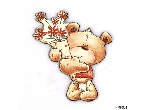 (HMF004) Forma Hűtőmágnes - Barna maci virággal