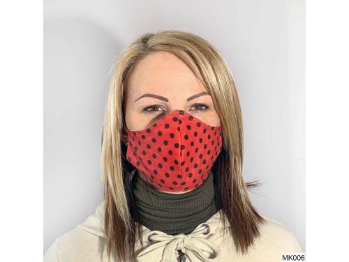 (MK006) Szájmaszk - Piros, fekete pöttyös szájmaszk