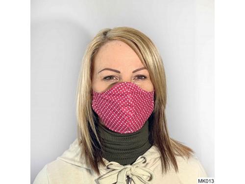 (MK013) Szájmaszk - Pink apró fehér pöttyös szájmaszk