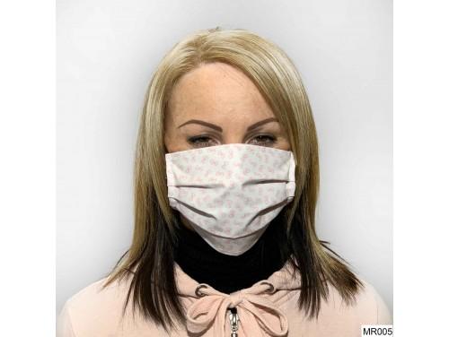 (MR005) Redözött szájmaszk - Fehér rózsaszín mintás szájmaszk
