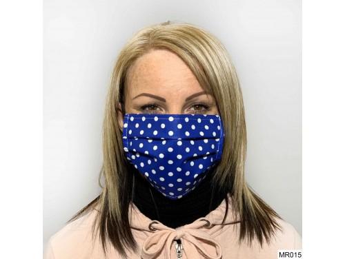(MR015) Redözött szájmaszk - Kék fehér pöttyös szájmaszk