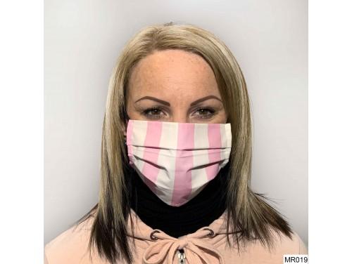 (MR019) Redözött szájmaszk - Rózsaszín fehér csíkos szájmaszk