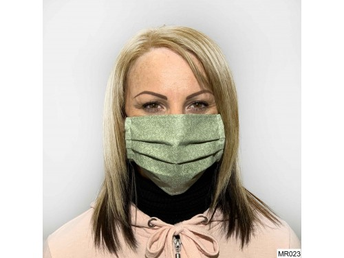 (MR023) Redözött szájmaszk - Zöld Mintás szájmaszk