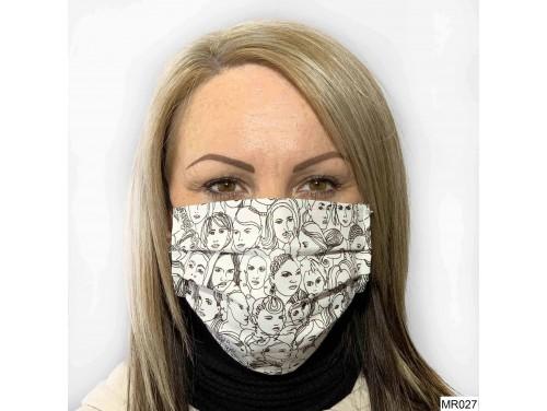 (MR027) Redözött szájmaszk - Fehér arc mintás szájmaszk