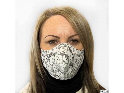 (MK028) Szájmaszk - Fehér arc mintás szájmaszk