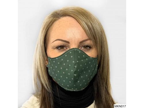 (MKN017) Szájmaszk - Sötét zöld fehér mintás szájmaszk