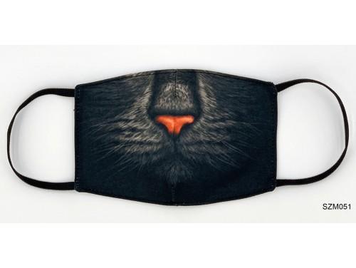 (SZM051) Szájmaszk - Fekete macska szájmaszk