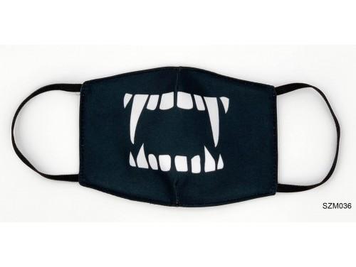 (SZM036) Szájmaszk - Vámpír fogas fekete szájmaszk