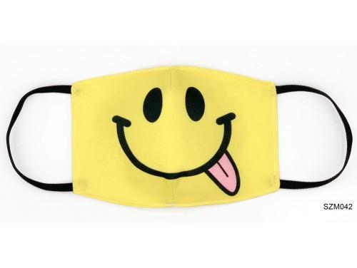 (SZM042) Szájmaszk - Nyelvkinyújtós sárga fej szájmaszk
