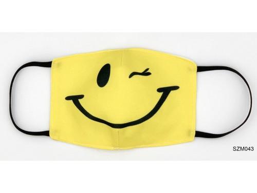 (SZM043) Szájmaszk - Kacsintós sárga fej szájmaszk