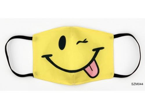 (SZM044) Szájmaszk - Kacsintós nyelvkinyújtós sárga fej szájmaszk
