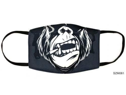 (SZM081) Szájmaszk - Cigizős gorilla majmos mintás szájmaszk