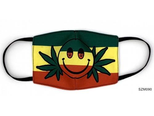 (SZM090) Szájmaszk - Rasztafari mintás cannabisos szájmaszk