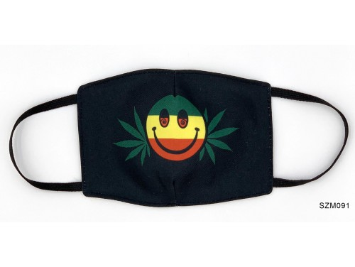 (SZM091) Szájmaszk - Cannabis mintás raszatafári fekete szájmaszk