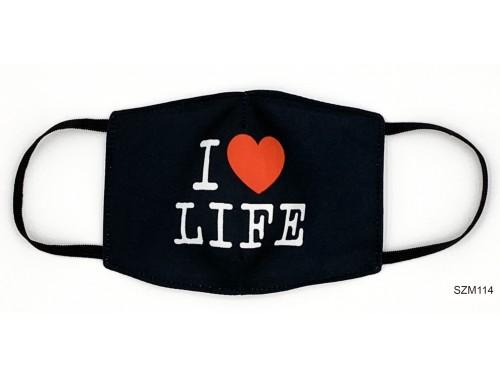 (SZM114) Szájmaszk - I love life feliratos fekete szájmaszk