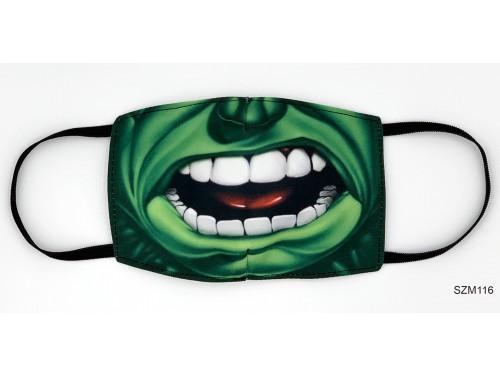 (SZM116) Szájmaszk - Zöld nagy száj mintás szájmaszk
