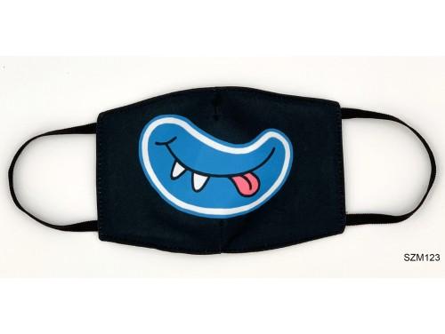 (SZM123) Szájmaszk - Kék nyelvkinyújtós száj mintás fekete szájmaszk