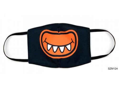 (SZM124) Szájmaszk - Narancssárgaa száj mintás fekete szájmaszk