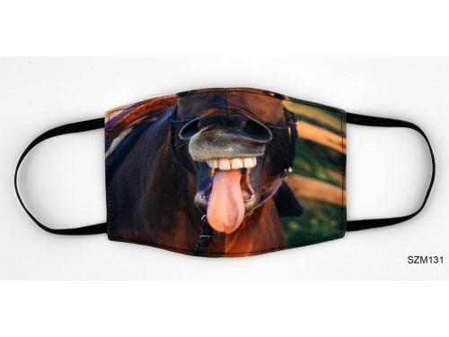 (SZM131) Szájmaszk - Ló fogas nyelvkinyújtós mintás szájmaszk