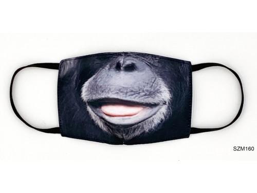 (SZM160) Szájmaszk - Fekete majmos szájmaszk