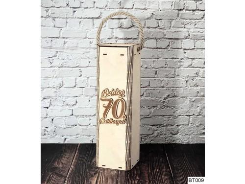 (BT009) Boldog 70. Szülinapot feliratú - Bortartó doboz - Boros doboz