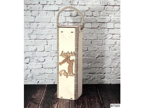 (BT025) Legjobb Papa feliratú - Bortartó doboz papáknak
