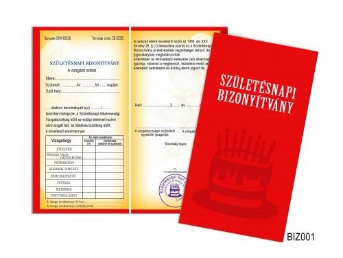 (BIZ001) Bizonyítvány - Születésnapi bizonyítvány - Születésnapi ajándék