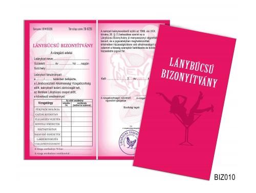 (BIZ010) Bizonyítvány - Lánybúcsú bizonyítvány - Ajándék lánybúcsúra
