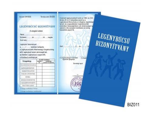 (BIZ011) Bizonyítvány - Legénybúcsú bizonyítvány - Ajándék legénybúcsúra