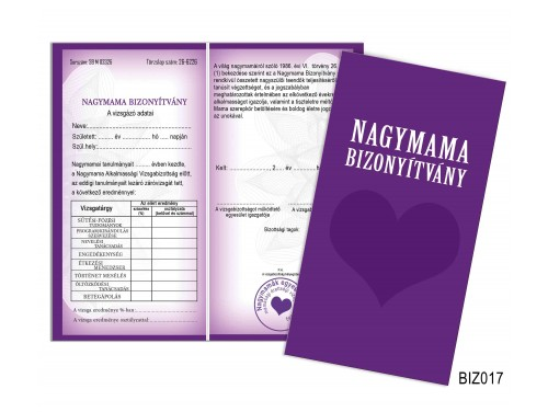 (BIZ017) Bizonyítvány - Nagymama bizonyítvány - Ajándék nagymamának