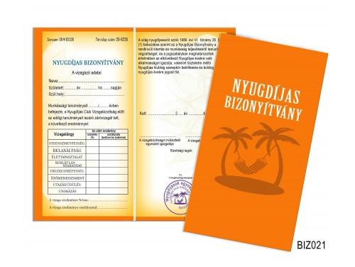 (BIZ021) Bizonyítvány - Nyugdíjas bizonyítvány - Nyugdíjas ajándék
