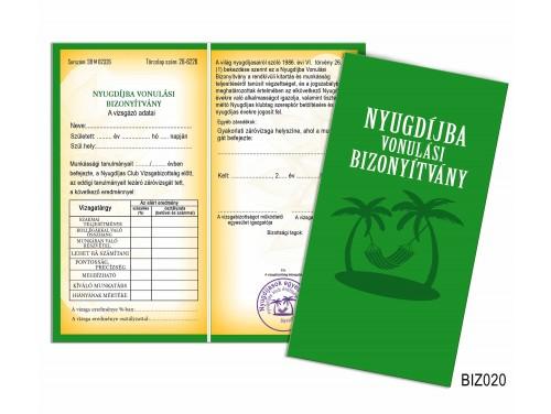 (BIZ020) Bizonyítvány - Nyugdíjba vonulási bizonyítvány - Nyugdíjas ajándék
