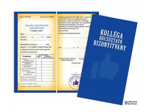(BIZ022) Bizonyítvány - Kolléga búcsúztató bizonyítvány - Kolléga búcsúztató ajándék