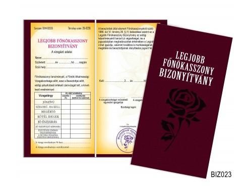 (BIZ023) Bizonyítvány - Legjobb főnökasszony bizonyítvány - Ajándék főnökasszonynak