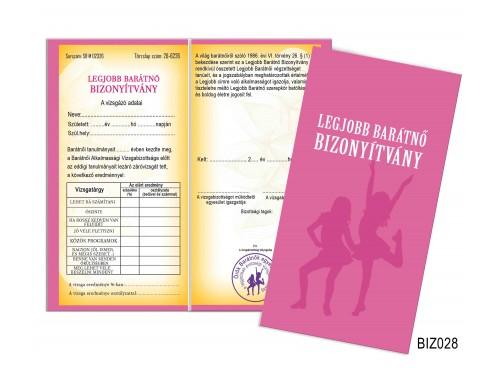 (BIZ028) Bizonyítvány - Legjobb barátnő bizonyítvány - Ajándék barátnőnek