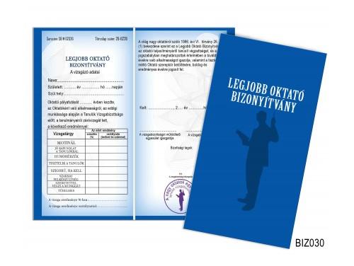 (BIZ030) Bizonyítvány - Legjobb oktató bizonyítvány - Oktatónak ajándék