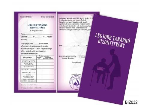 (BIZ032) Bizonyítvány - Legjobb tanárnő bizonyítvány - Ajándék tanároknak