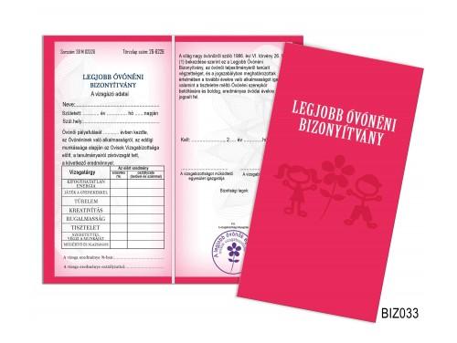 (BIZ033) Bizonyítvány - Legjobb óvónéni bizonyítvány - Ajándék óvónéninek