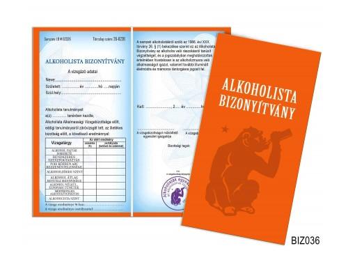 (BIZ036) Bizonyítvány - Alkoholista bizonyítvány - Vicces ajándék férfiaknak