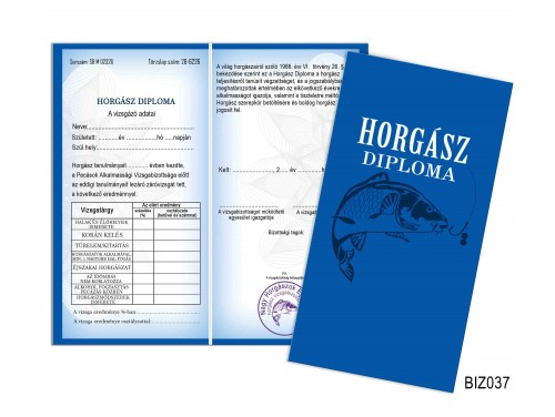 (BIZ037) Bizonyítvány - Horgász Diploma - Horgász ajándék