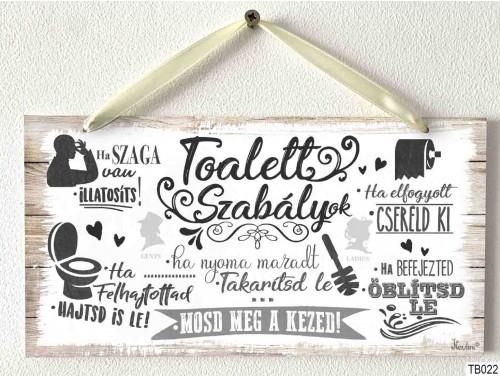 (TB022) Kicsi Dekor Tábla - Toalett szabályok - Család ajándék