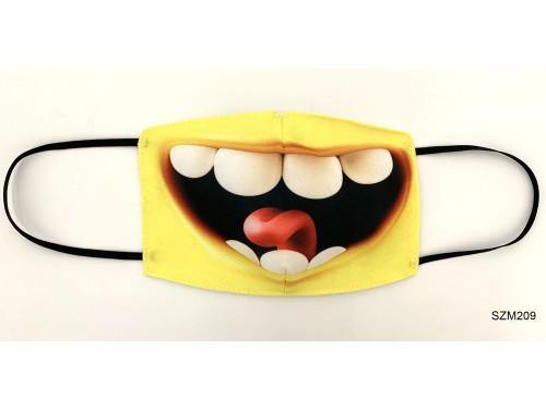 (SZM209) Szájmaszk - Nagy sárga száj mintás szájmaszk - Vicces szájmaszk