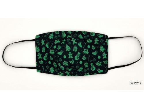 (SZM212) Szájmaszk - Zöld karácsonyi mintás fekete szájmaszk