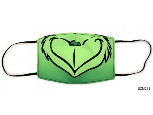(SZM213) Szájmaszk - Zöld grincs manó mintás szájmaszk