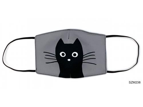 (SZM238) Szájmaszk - Fekete macska fej mintás szájmaszk